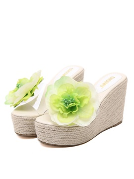 Pvc Crochet Applique Wedge Sandals