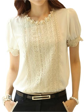 Stylish Pearl Decoration Round Neck Blouse