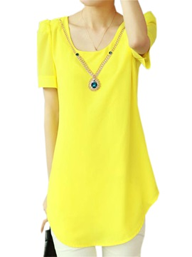Simple Round Neck Chiffon Blouse