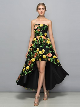 Glamorous Strapless Hollow High Low Print Prom Dress