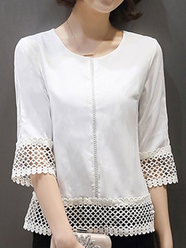 Chic Hollow Design Half Sleeve Blouse