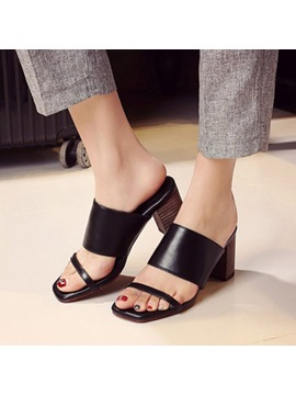 Pu Open Toe Chunky Heel Sandals