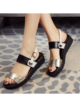 Embossed Pu Buckles Flat Sandals