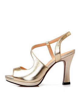 Elegant Metallic Peep Toe Sandals