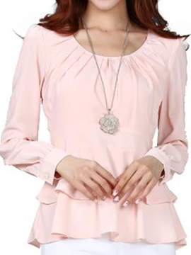 Stylish Pleated And Bowknot Round Neck Work Blouse