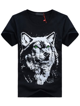 Wolf Printed Short Sleeve Mens Tee