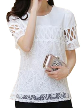 Special Hollow Short Sleeves Lace Blouse