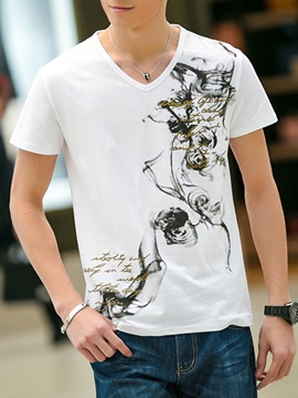 Wash Painting V Neck Mens Short Sleeve Tee
