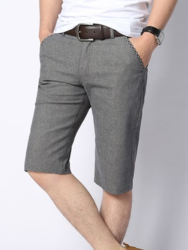 Solid Color Slim Fit Mens Knee Length Shorts