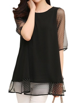 See Through Sleeves And Hem Blouse
