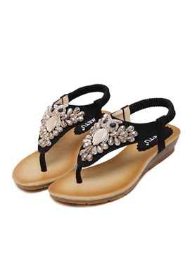 Jeweled Thong Elastic Band Flat Sandals