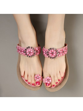 Jeweled Ring Toe Flat Sandals
