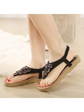 Jeweled Elastic Band Thong Flat Sandals
