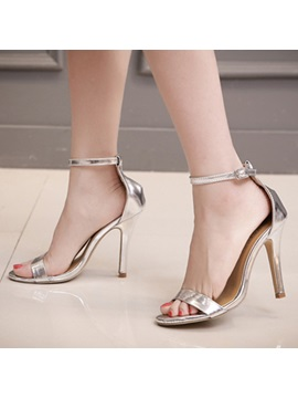 Metallic Open Toe Stiletto Heel Sandals