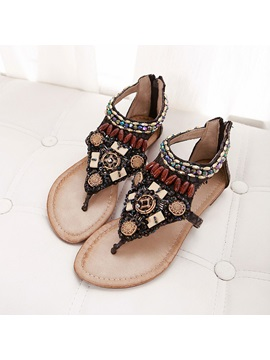 Boho Beading Thong Back Zip Flat Sandals
