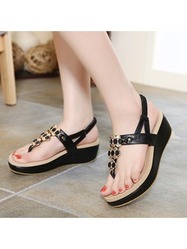 Sweet Rhinestone Thong Flat Sandals