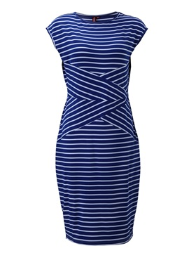 Stripe Round Neck Sleeveless Slim Work Bodycon Dress