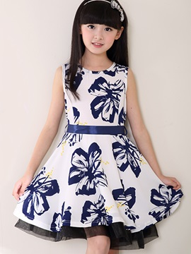 Chic Flower Print Girls Dress