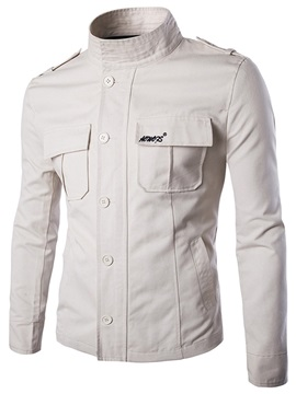 Single Breasted Front Pockets Mens Jacket