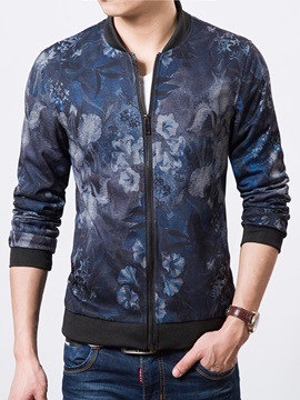 Floral Printed Zipper Up Mens Casual Jacket