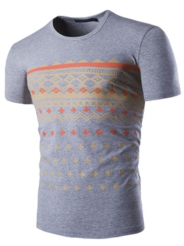Curve Printed Short Sleeve Mens Casual Tee