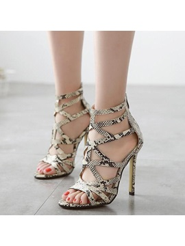 Snakeskin Printed Cut Out Sandals