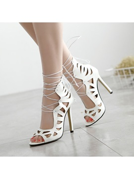 Pu Hollow Peep Toe Lace Up Sandals