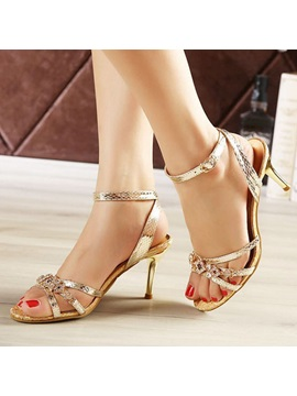 Rhinestone Sequins Stiletto Heel Sandals