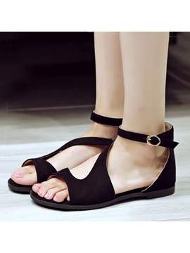 Solid Color Open Toe Covering Heel Flat Sandals