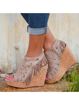 Tassels Peep Toe Side Wedge Sandals