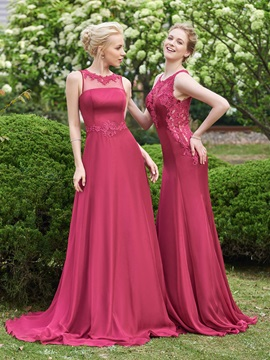Simple Jewel Long Bridesmaid Dress