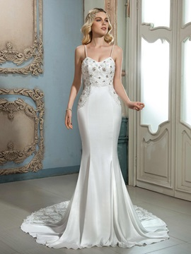 Charming Spaghetti Straps Beaded Lace Trumpet Mermaid Wedding Dress