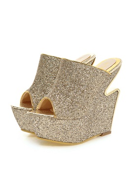 Sequins Peep Toe Strange Heel Wedge Sandals