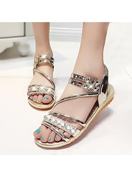 Diamond Open Toe Elastic Band Flat Sandals
