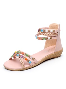 Pu Diamond Back Zip Flat Sandals