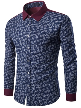 Color Block Floral Printed Mens Regular Fit Shirt