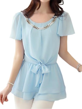 Stylish Sequins Decoration Collar Chiffon Blouse