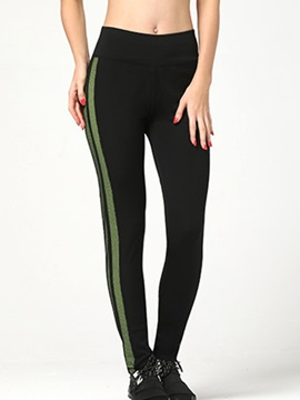 Slimming Stripe Designed Ninth Length Leggings