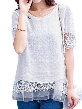Chic Lace Hem Short Blouse