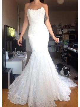 Modest Sweetheart Appliques Court Train Mermaid Wedding Dress