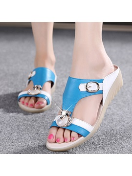 Pu Diamond Slip On Flat Sandals