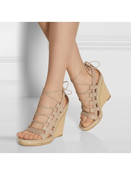 Solid Color Pu Cut Out Wedge Sandals