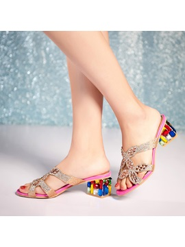 Diamond Rhinestone Chunky Heel Sandals