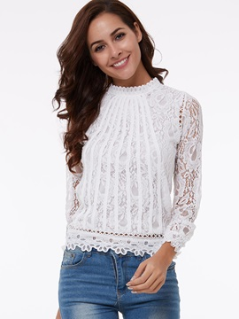 Special Collar Short Lace Blouse