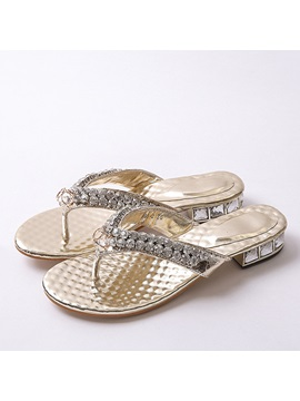 Rhinestone Square Heel Thong Beach Sandals