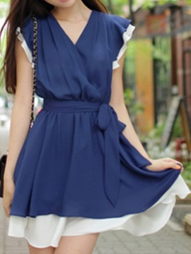 Contrast Two In One V Belt Skater Dress