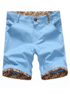 Zipper Roll Cuff Mens Casual Shorts