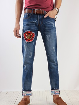 Roll Cuff Loose Fit Mens Patched Jeans
