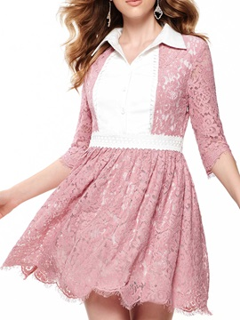 Sisjuly Contrast Patchwork 3 4 Sleeve Day Dress