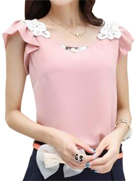 Chic Lace Decoration Shoulder Slim Blouse